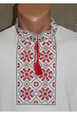 Футболка «Сніжинка» біла з вишивкою червоного кольору