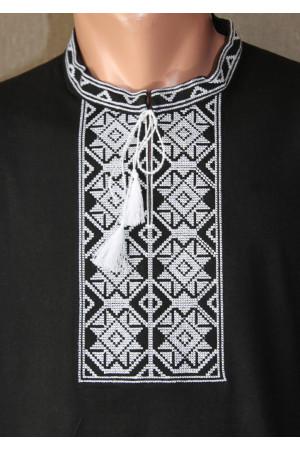 Футболка «Ромби» чорна з вишивкою білого кольору КР