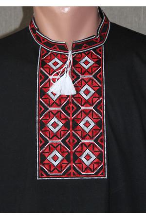 Футболка «Ромби» чорна з вишивкою червоного кольору КР