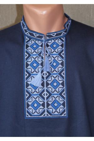 Футболка «Ромби» темно-синя з вишивкою синього кольору КР