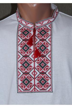 Футболка «Ромби» біла з вишивкою червоного кольору КР
