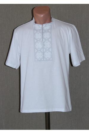 Футболка «Народна» біла з вишивкою сірого кольору КР