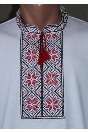Футболка «Народная» с вышивкой красного цвета КР