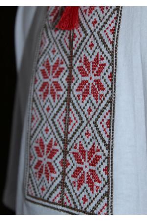 Футболка «Народна» біла з вишивкою червоного кольору КР