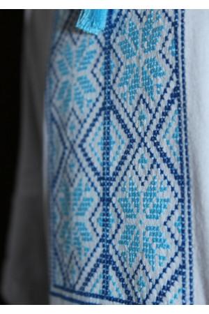 Футболка «Народна» біла з вишивкою блакитного кольору КР
