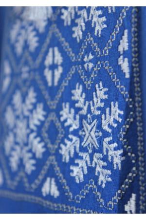 Футболка «Сніжинка» синя з вишивкою білого кольору КР