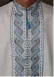 """Вишиванка """"Шлях"""" з вишивкою сіро-блакитного кольору"""