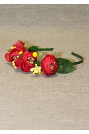 Ободок-половинка с красными цветами