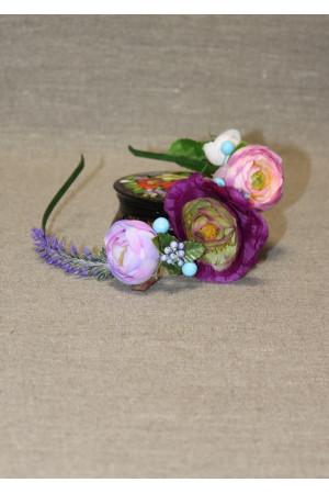 """Ободок-половинка """"Лаванда"""" в фиолетовых тонах"""