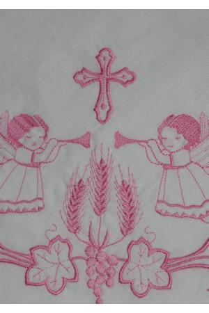 Крыжма с вышивкой розового цвета