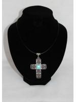 """Кулон """"Византийский крест"""" на коже"""
