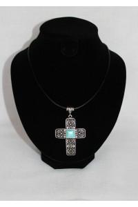 """Кулон """"Візантійський хрест"""" на шкірі"""