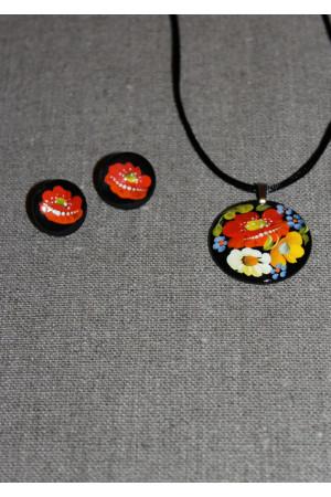Набор - сережки и кулон с росписью
