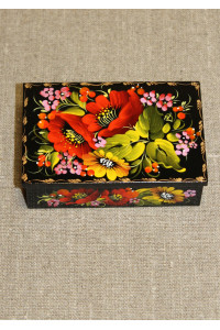 Шкатулка прямоугольная с росписью цветочным орнаментом