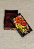 Шкатулка прямокутна з розписом квітковим орнаментом