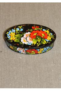Шкатулка с росписью под лаком овальная (маленькая)