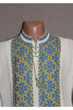 "В'язана вишиванка ""УПА"" з жовто-блакитним орнаментом"