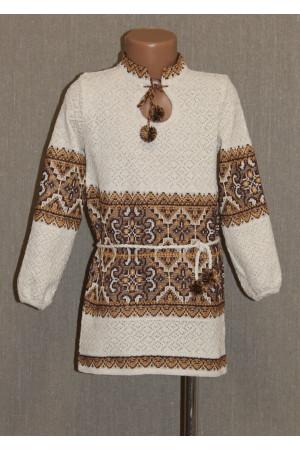 """Вязаная вышиванка для девочки """"Влада"""" с коричневым орнаментом"""
