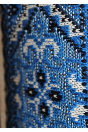"""Вязаная вышиванка для мальчика """"Влад"""" с синим орнаментом"""