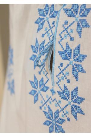 """Вышиванка для девочки """"Дариночка"""" с голубым орнаментом"""