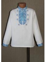 """Вышиванка для мальчика """"Полуботок"""" с вышивкой голубого цвета"""