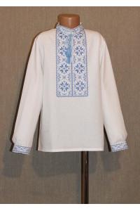 """Вышиванка для мальчика  """"Первый снег"""" с вышивкой голубого цвета"""