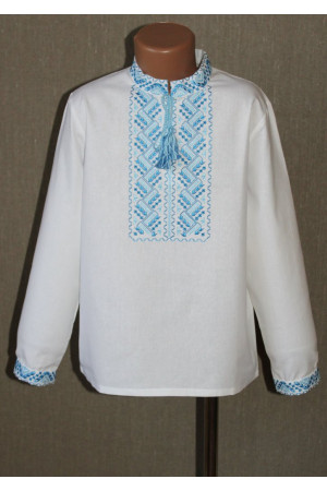 """Вышиванка для мальчика """"Любомир"""" с вышивкой голубого цвета"""