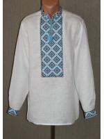 """Вышиванка """"Кубик"""" с вышивкой голубого цвета"""