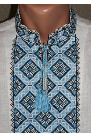 """Вишиванка """"Кубик"""" з вишивкою блакитного кольору"""