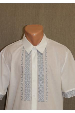 """Подростковая рубашка """"Возрождение"""" с вышивкой серого цвета КР"""