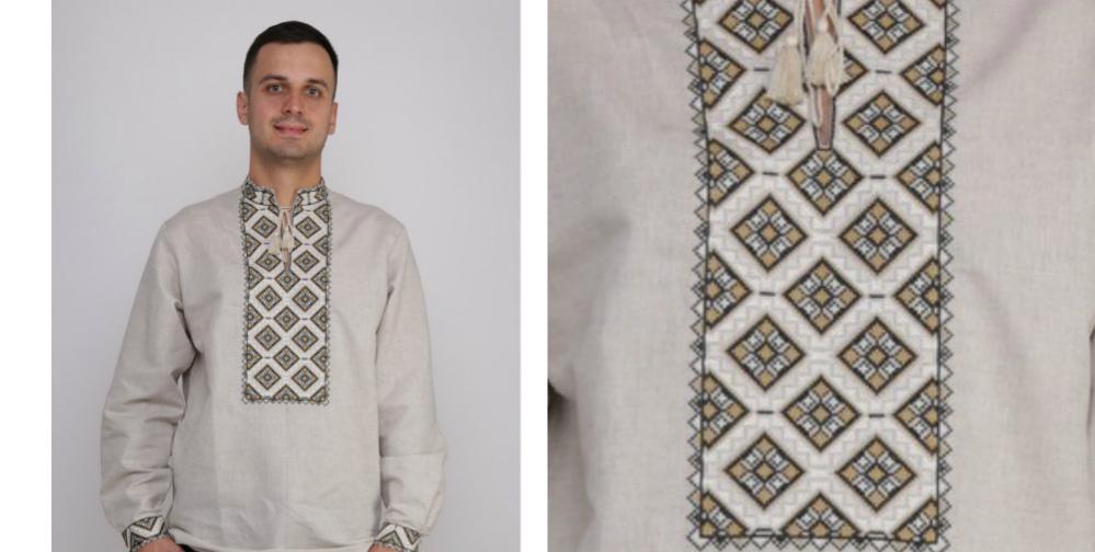 У цій вишиванці традиційні мотиви орнаменту й бежевий невибілений льон  утворюють дуже стриманий da6b015c3bb4a